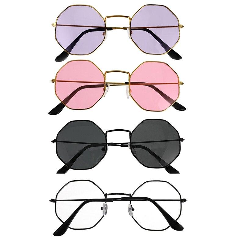 4 colores de moda Vintage Retro Metal marco claro lente gafas Nerd gafas para Geek gafas poligonales ojo gafas