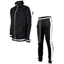 Mens Jacket + Pants Tracksuit Male splice Long Sleeve red black Casual 2 Piece Set male pocket zipper design men Sportswear