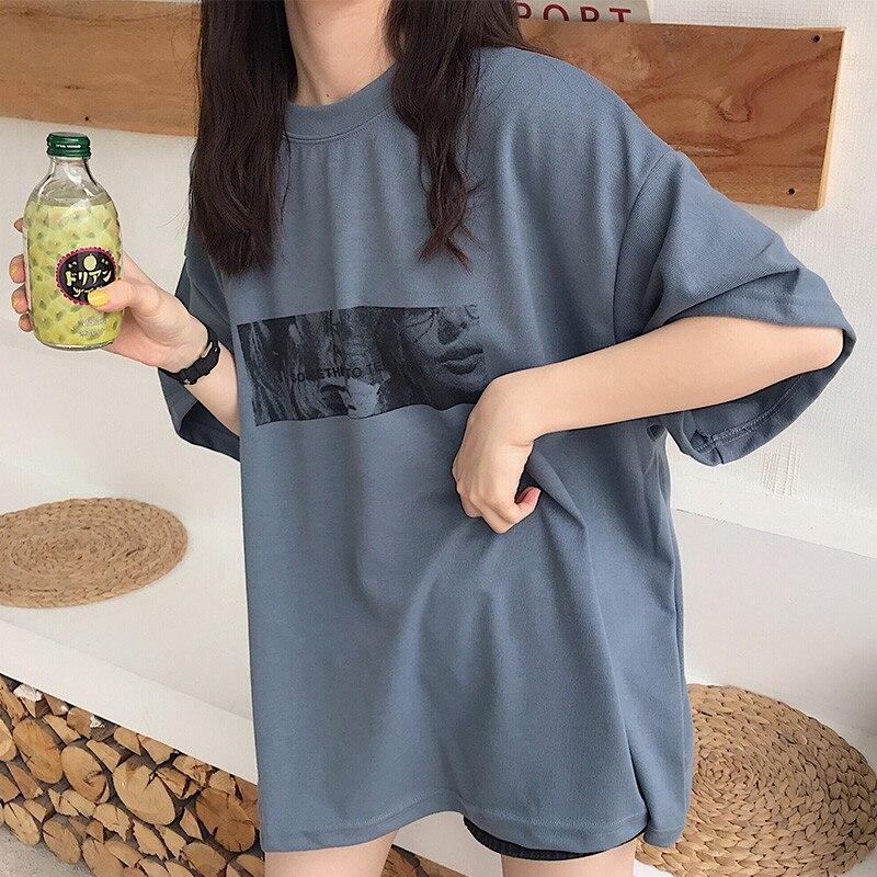 Camiseta de manga corta para mujer, con estampado artístico de dibujos animados, Harajuku a la moda, nuevo, camiseta informal holgada de verano con letras