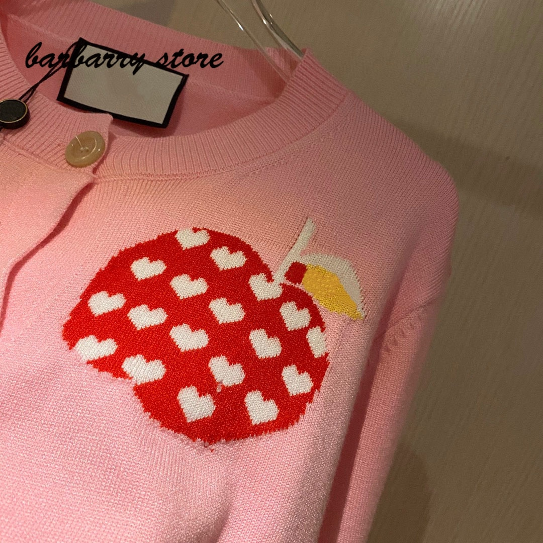 luxury brand peach heart Apple printing fashion women's temperament round neck Versatile Single breasted long sleeved Pullover enlarge
