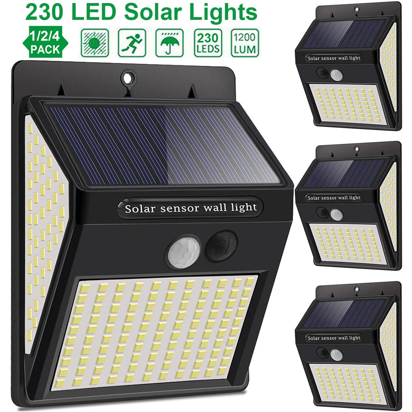 3Mode Waterproof 230 LED Solar Motion Sensor Lights Outdoor Sunlight Solar Powered Street Wall Lamp for Garden Decoration 1-4pcs