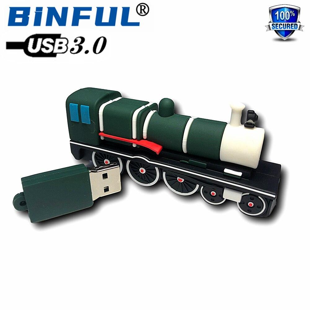 BINFUL мультфильм новый быстрый USB 3,0 поезд, USB флэш-накопитель 128 ГБ 4 ГБ флэш-накопитель флешки 8 Гб оперативной памяти, 16 Гб встроенной памяти, 32 ...