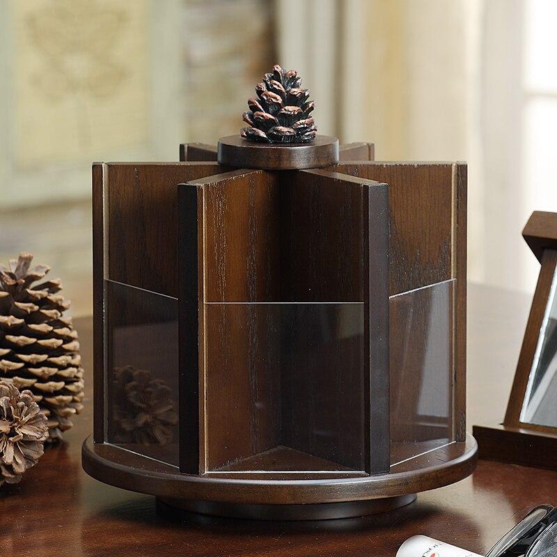 360 درجة الدورية صندوق تخزين مستحضرات التجميل ماكياج المنظم الخشب العناية بالبشرة منظم فرش الماكياج Cajas تخزين الحاويات EF60CS