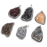 fashion irregular crystal druzy pendants natural druzys agates pendant charms for jewelry making diy necklace size 30x40 35x45mm