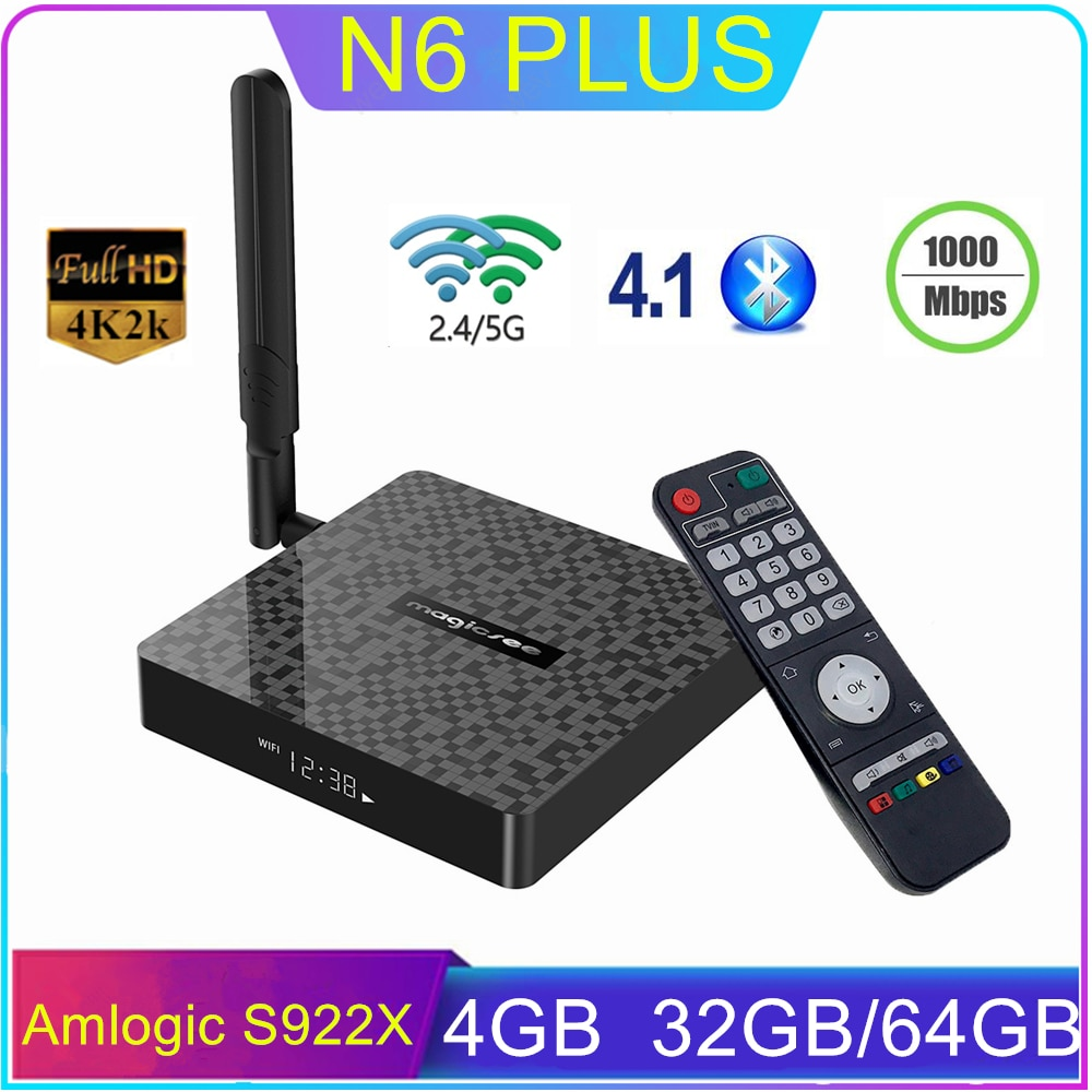 N6 Plus Smart Android 9,0 caja de TV DDR4 4GB 32GB/64GB Amlogic S922X Dual Wifi Bluetooth 1000M Ethernet Set de reproductor multimedia Top Box