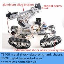 6DOF grand bras Robot en métal avec TS400 Kit de châssis de réservoir intelligent absorbant les chocs véhicule 6 axes Robot servomoteur à couple élevé bricolage