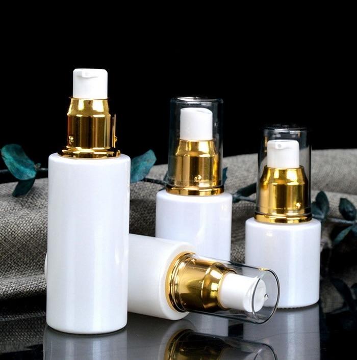 50 pçs/lote 20/30/40/50ml vazio pêra branco garrafa de vidro loções bomba dispensador viagem recipiente de armazenamento cosméticos garrafas perfume