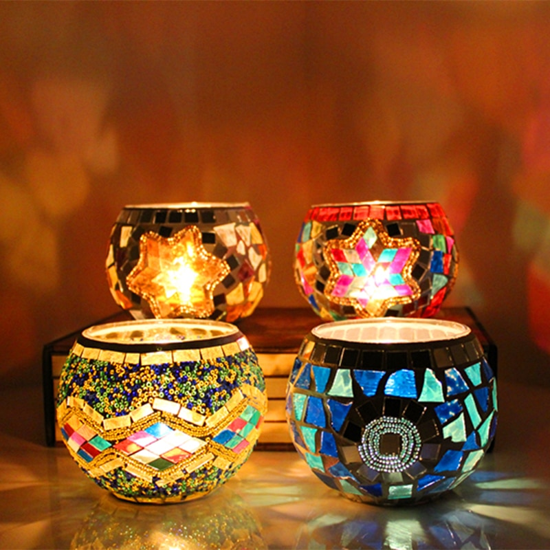 1 X candelabro hecho a mano con soporte mosaico para velas, luz de té, suministro para decoración de fiesta