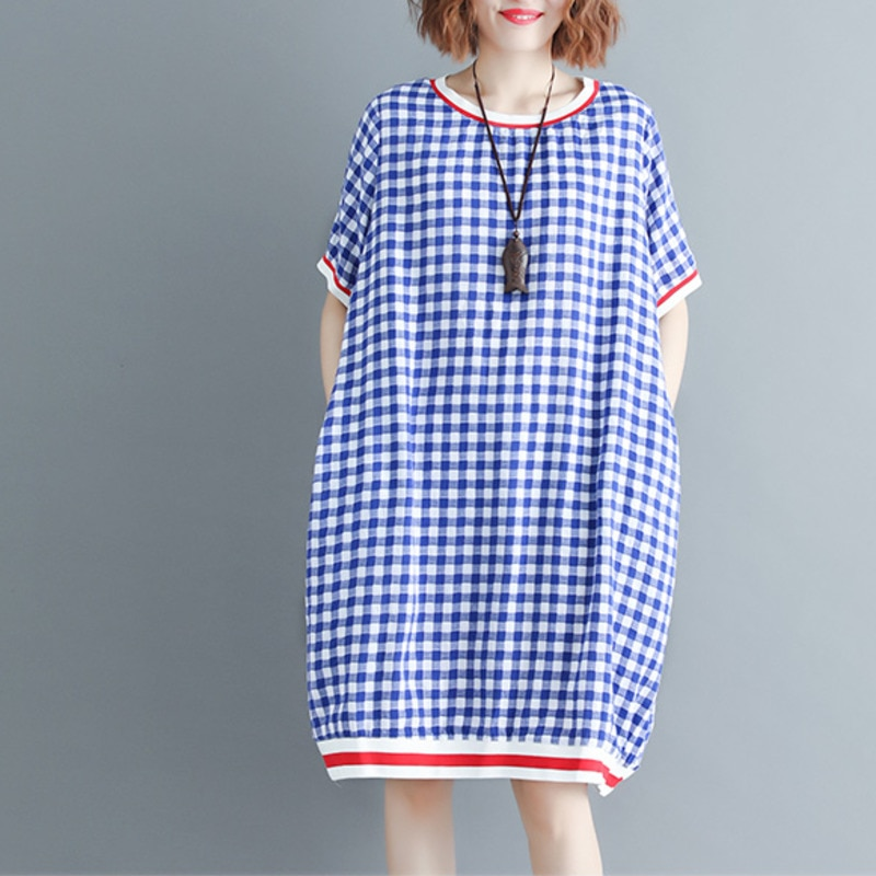 #0114 Summer Casual Red/Blue Plaid Dress Women Plus Size Loose T Shirt Dress Short Sleeve Cotton Round Neck Vestidos L-XL