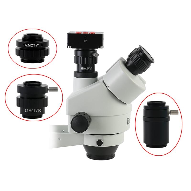 0.3X 0.5X C mount Lens Adapter SZMCTV 1/2 1/3 1X Adapter For Simul Focal Trinocular Stereo Microscope HDMI VGA USB Video Camera