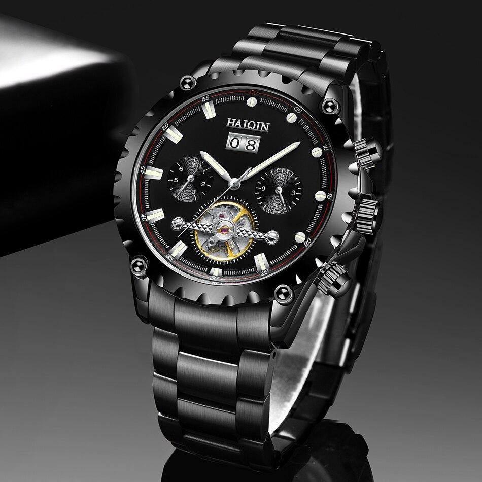 Topo da Marca de Luxo Mecânicos para Homem à Prova Haiqin Preto Relógios Masculinos Automático Dwaterproof Água Tourbillon Reloj Hombres 2021
