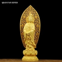 solid wood lotus statue of guanyin %ef%bc%8cwooden hand carved%ef%bc%8c chinese buddha statue exquisite carving home decoration accessories 27cm