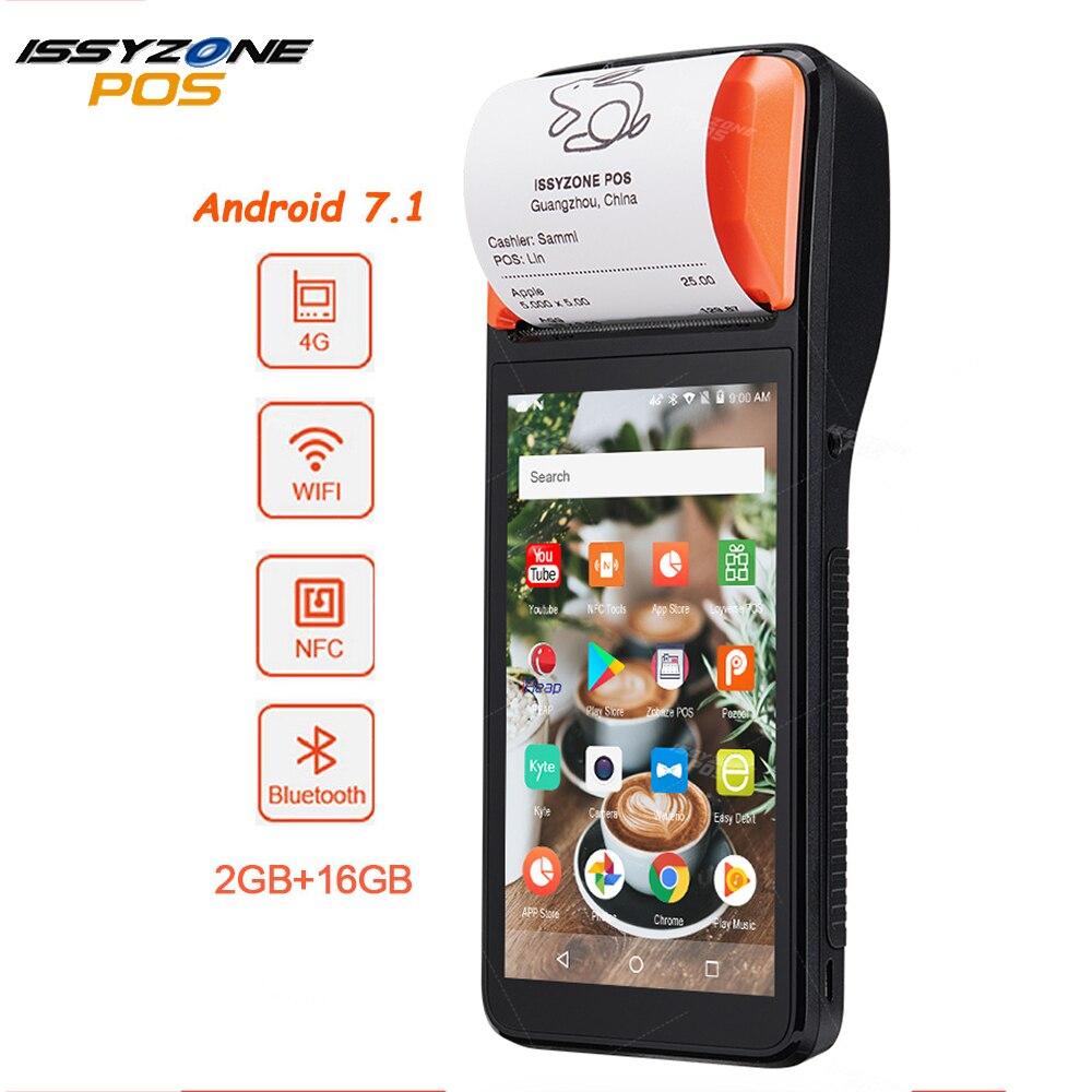 ISSYZONEPOS, Android 7,1, impresora Terminal POS, PDA móvil, Bluetooth, impresora térmica de recibos, 58mm, 4G, escáner de código de barras con WiFi
