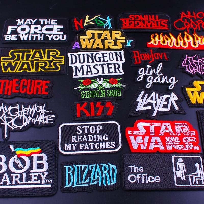Parche de banda de música Hippie Pulaqi, parches bordados de Iron On Rock Maniac para ropa, apliques de tela, insignias de letras de Metal