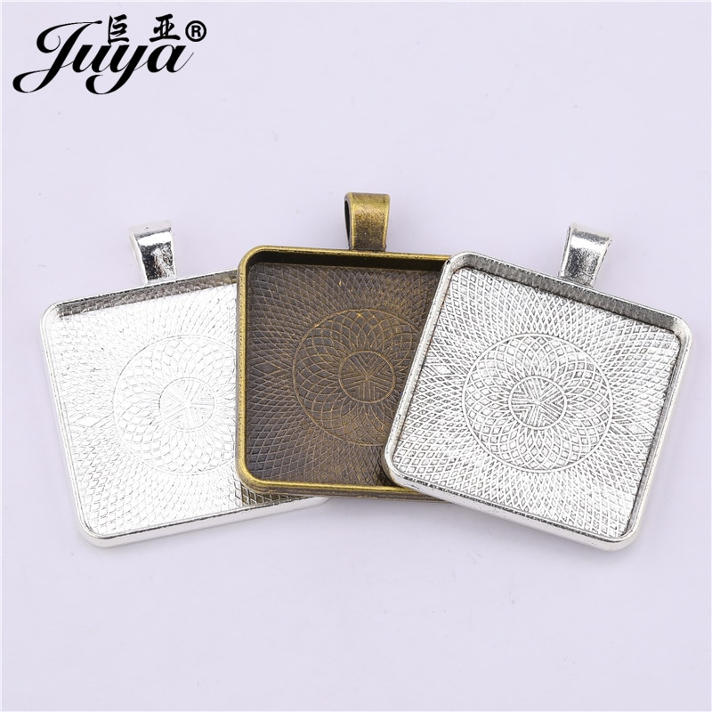 30PCS Matel 30mm Square Pendant Cabochon Base Setting Alloy Jewelry Components Crafts For Necklaces Keychains DIY Jewelry Making