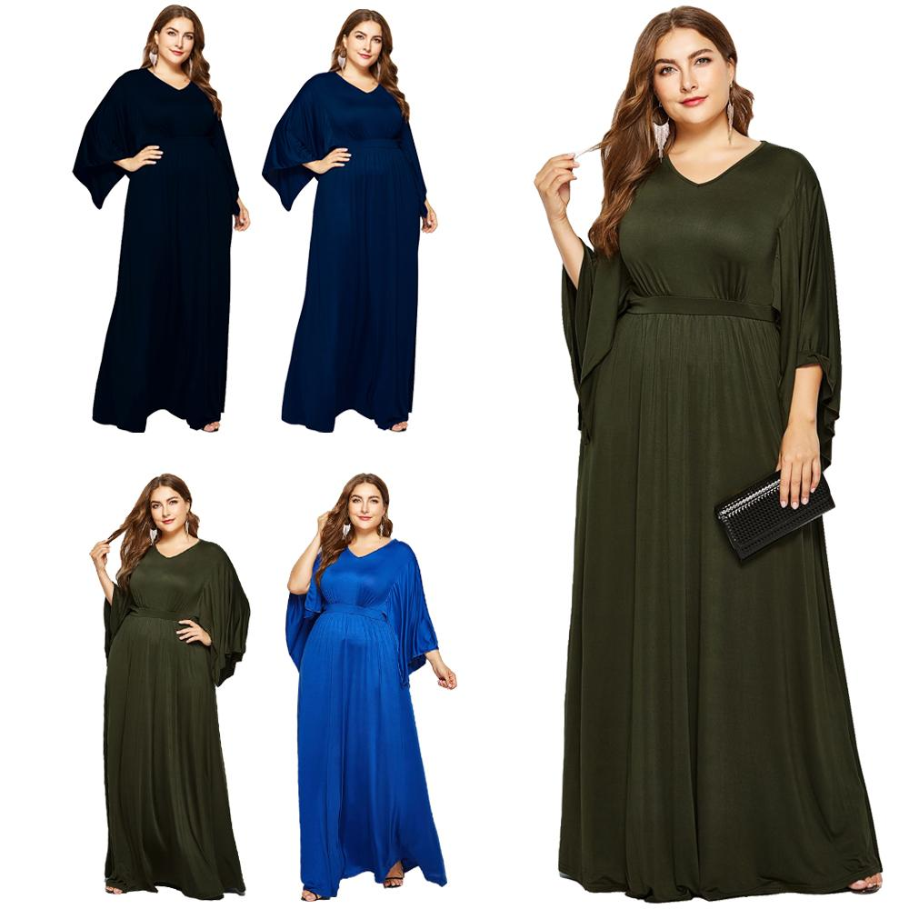 Women's Plus Size Short Sleeves High Waist Evening Long Maxi Dress Party Cocktail Gown Plain Loose V-neck Bat Sleeve Dress New