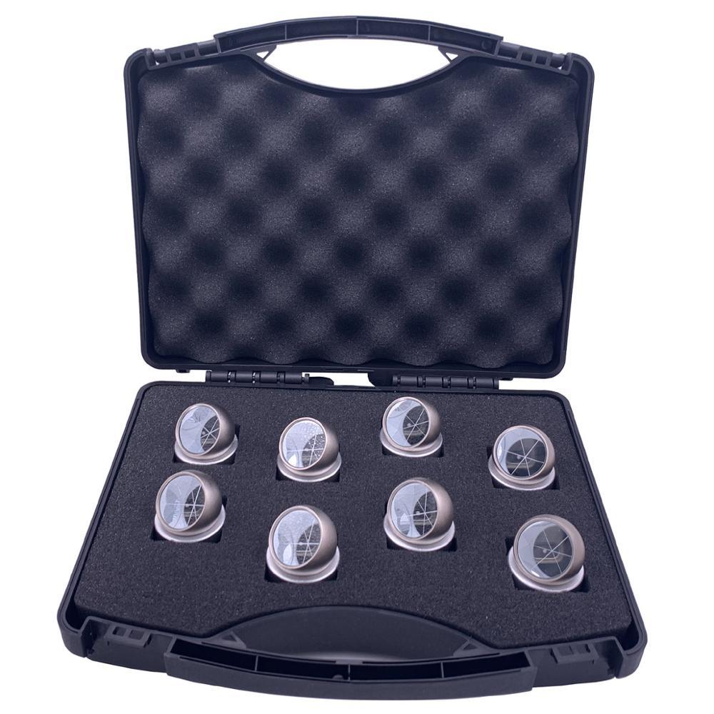 8 pces que monitora com o prisma magnético da bola dos grânulos mini com base magnética para a estação total, prisma revestido prata da esfera
