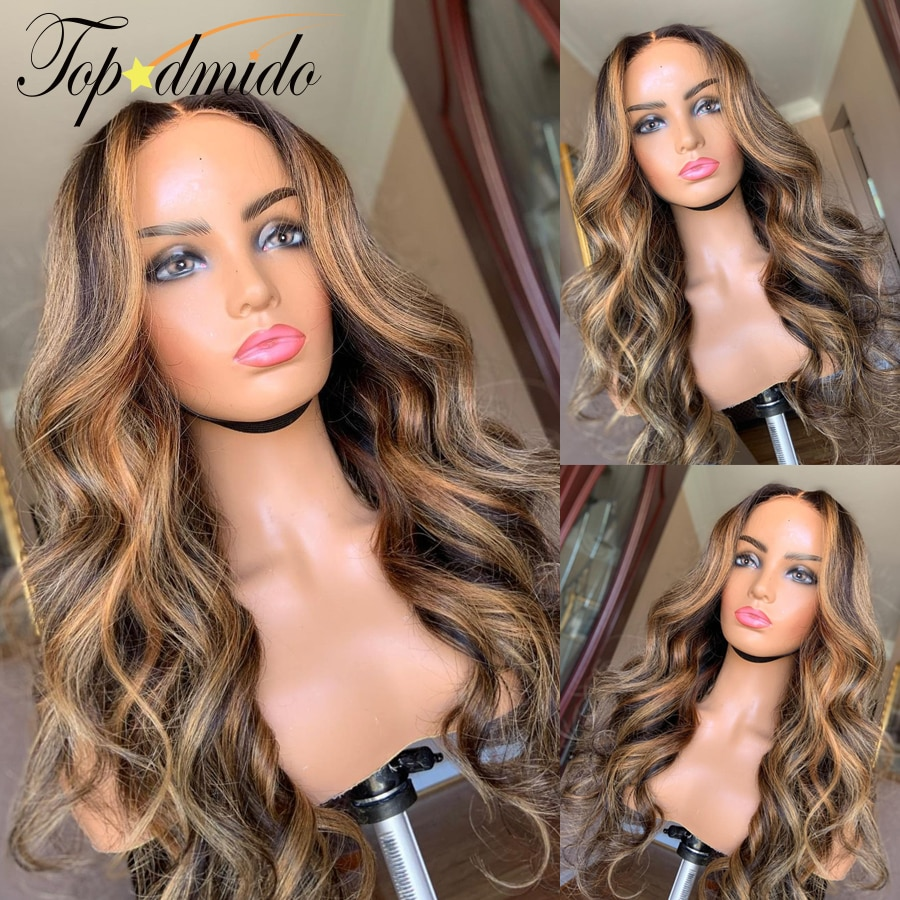 Topodmido Highlight Color 4x4 Closure Lace Wigs with Baby Hair Brazilian Remy Hair 13x4 Lace Front H