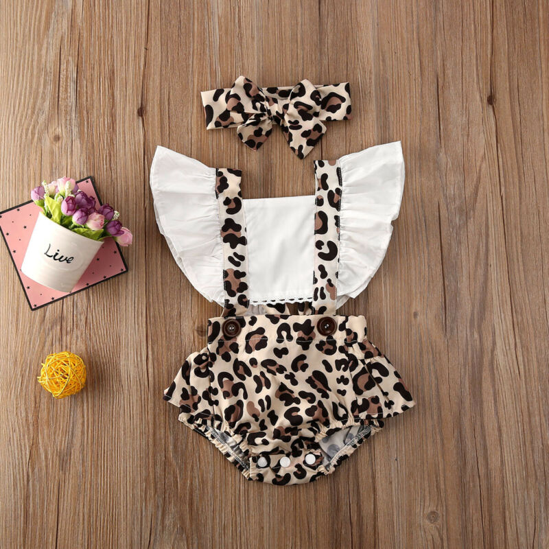 Newborn Toddler Baby Girl Clothes Ruffle Leopard Romper Jumpsuit Outfit Sunsuit