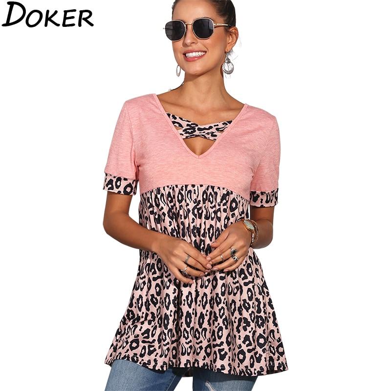 Vintage T Shirt Women 2020 Summer V-neck Short Sleeve Leopard T-shirt Fashion Casual Streetwear Plus Size Tops Tee Shirt Femme