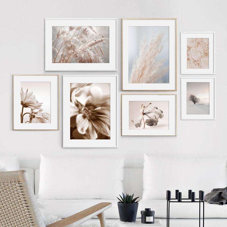 Carteles nórdicos e impresiones de planta de baile y flores secas de junco, cuadro sobre lienzo para pared, imágenes de pared para sala de estar, decoración del hogar