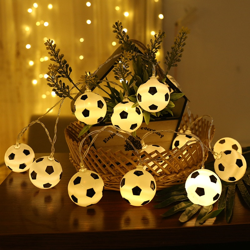 20 LED Soccer Balls String Lights DIY Soccer Accessories Bedroom Home Wedding Party Decoration Fans Supplies World Cup Bar Club