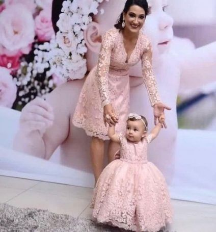 Long Sleeve Lace Baby Kid Dresses Flower Girls Pink Dress Mother Daughter Pink Lace Birthday Dress Pageant Pink Lace Dresses