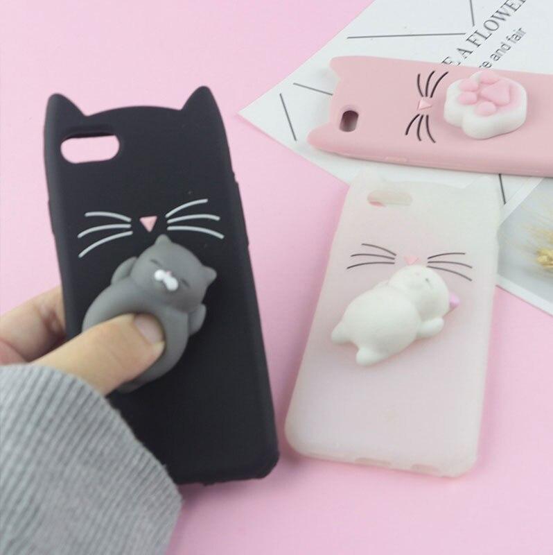 Funda para teléfono móvil con Gato Bearded Glitter 3D carcasa para iPhone 6 6S 7 8 Plus X XR XS Max Squishy Cat