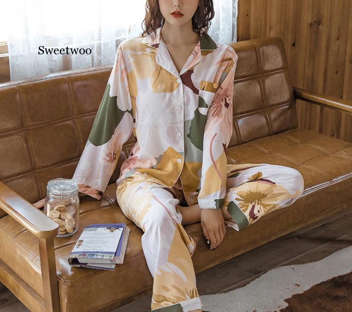 Cotton Pajamas Floral Long Sleeve Pajamas Women Print Sexy Top  Pajama Beauty Lounge Wear Home Cloth