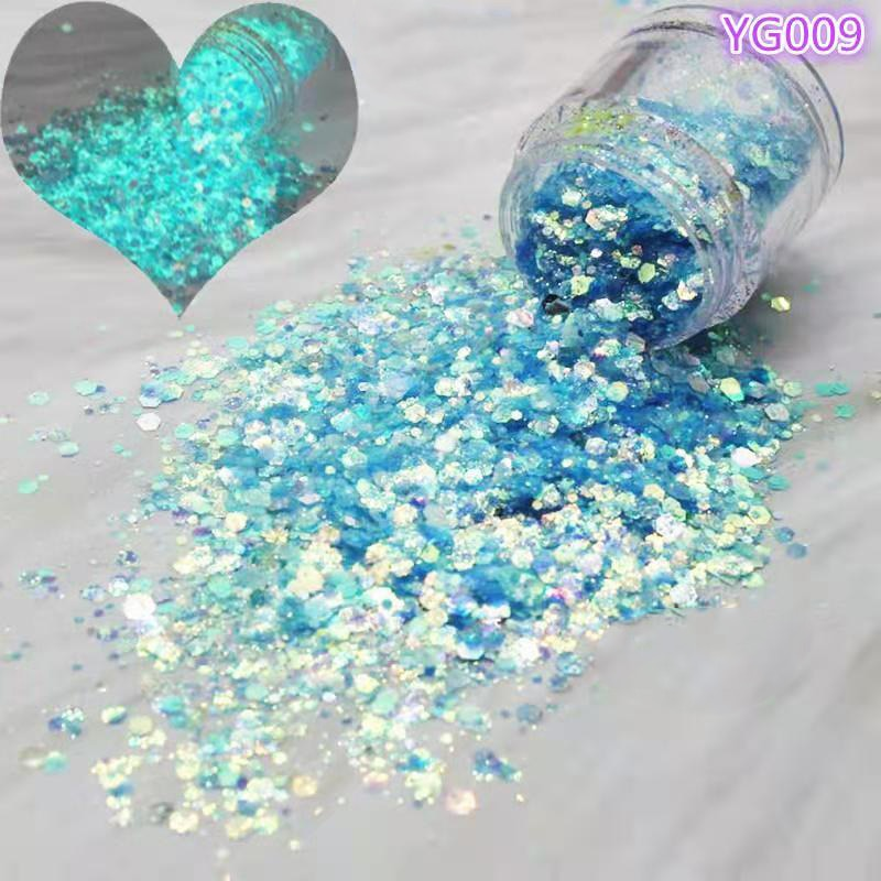1kg/BAG Glow In the Dark Glitter Chunky Lumious Sequin Drop-Rubber Holographic Flashing Flake Bulk Nailarts Laser Glitter #MD161