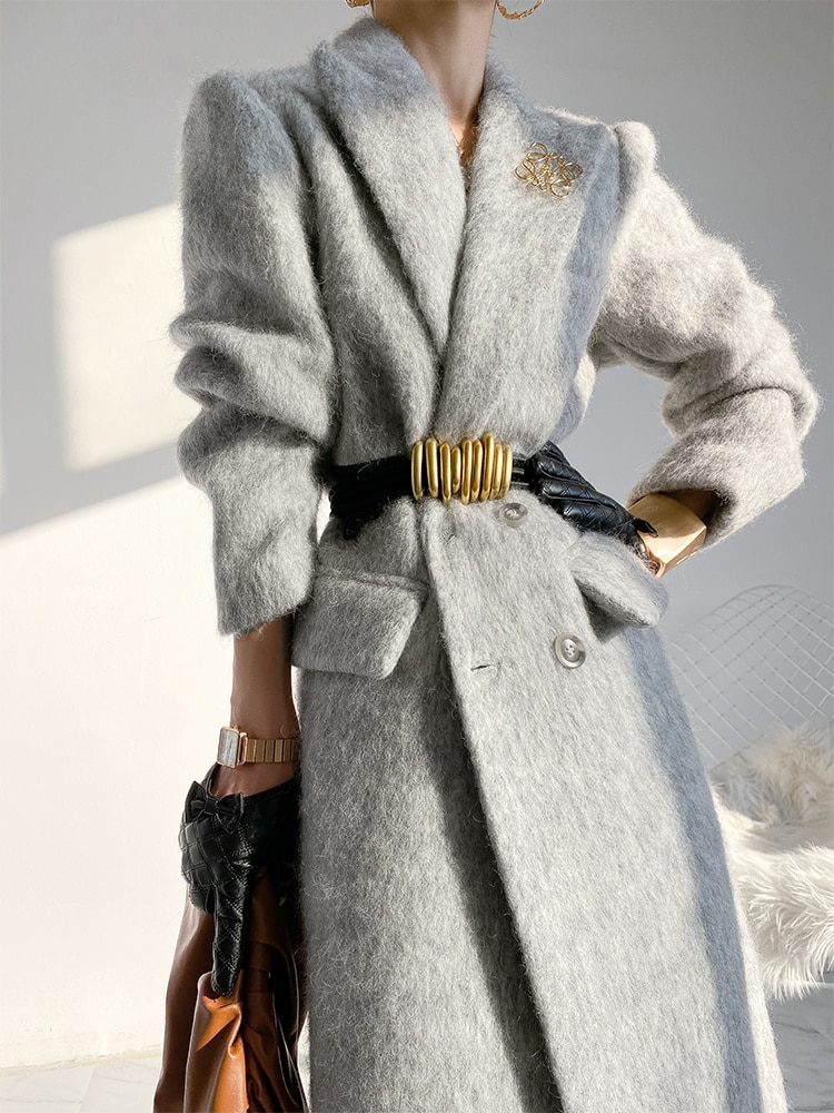 Gaoding معطف الصوف المرأة 2021 شتاء جديد رقيقة سميكة طول الركبة الصوف نحى معطف