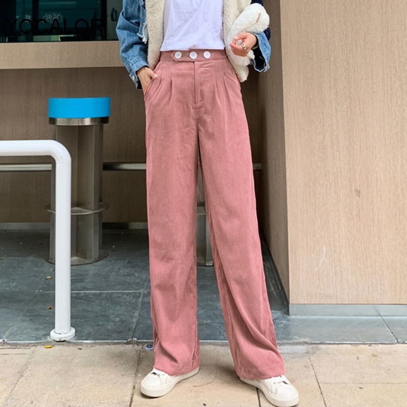 Yocalor 2020 Casual Loose High Waist Corduroy Pants Women Winter Wide-legged Trousers Female Wide-legged Pants Pantalon Femme