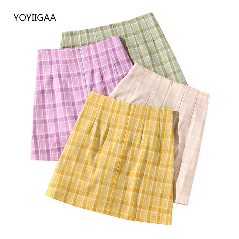 Summer Harajuku Women's Skirts High Waist A-Line Female Plaid Pencil Skirts with Shorts Fashion Zipper Ladies Girls Mini Skirt
