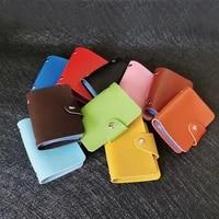 candy solid color short holder bag pu leather bank card set business multi card bit thin card holder bag for unisex