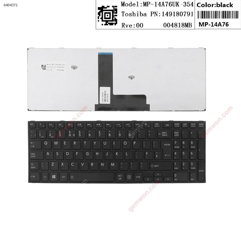 المملكة المتحدة القياسية اللغة استبدال الكمبيوتر المحمول لوحة مفاتيح الكمبيوتر المحمول لتوتوشيبا C50-B C50D-B الإطار الأسود الأسود (ل Win8)