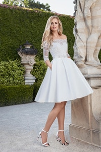 Vestido De Novia Crystal Belt Robe De Mariage Appliques Lace  Short Wedding Dress Illusion Bridal Gown Wedding Short Drsess