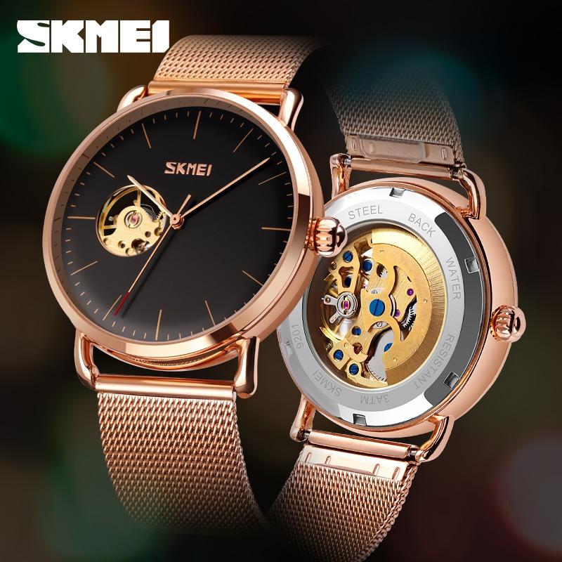 SKMEI Fashion Automatic Watch Men's Luxury Wrist Watches Watch Mesh Belt Simple Design Quartz Watch Top Brand Waterproof Clock