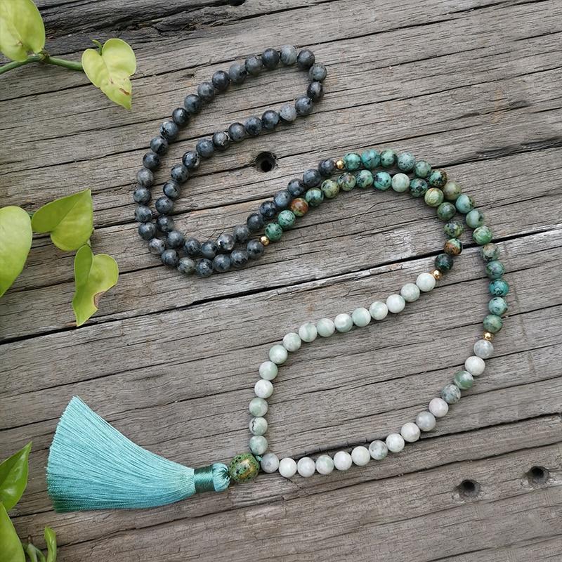 8mm Natural Stone Beads,African Turquoise,lucky Jade,Positive,JapaMala Set,Spiritual Jewelry,Meditation Lotus Mala,108 Mala Bead