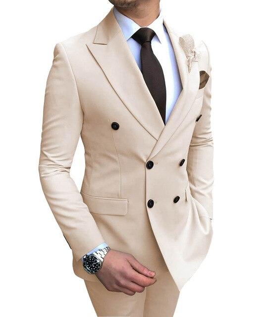 الرجال الدعاوى 2 قطعة صالح سليم مزدوجة الصدر الأعمال رفقاء البيج بلغت ذروتها التلبيب البدلات الرسمية بدلة الزفاف الرسمي سترة السراويل