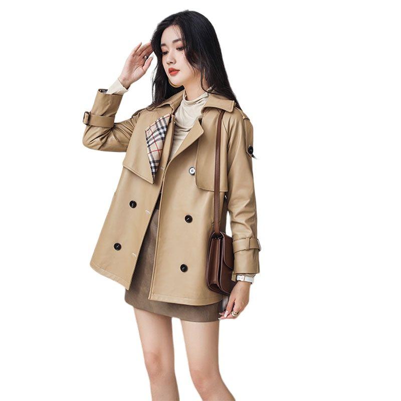 women real sheepskin windbreaker genuine leather suit jacket  brown genuine leather jacket large size leather coats for women