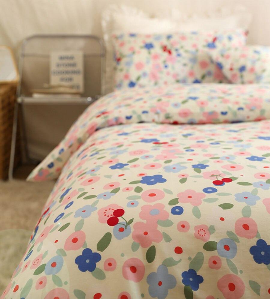 لطيف الحلو زهرة الوردي الأزرق طقم سرير ، رومانسية جميلة القطن التوأم كامل الملكة المنسوجات المنزلية غطاء سرير كيس وسادة حاف الغطاء