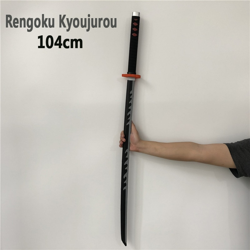 Cosplay japonés 11 Kimetsu no Yaiba arma demonio asesino Rengoku Kyoujurou espada Anime Ninja cuchillo PU juguete gris 104cm