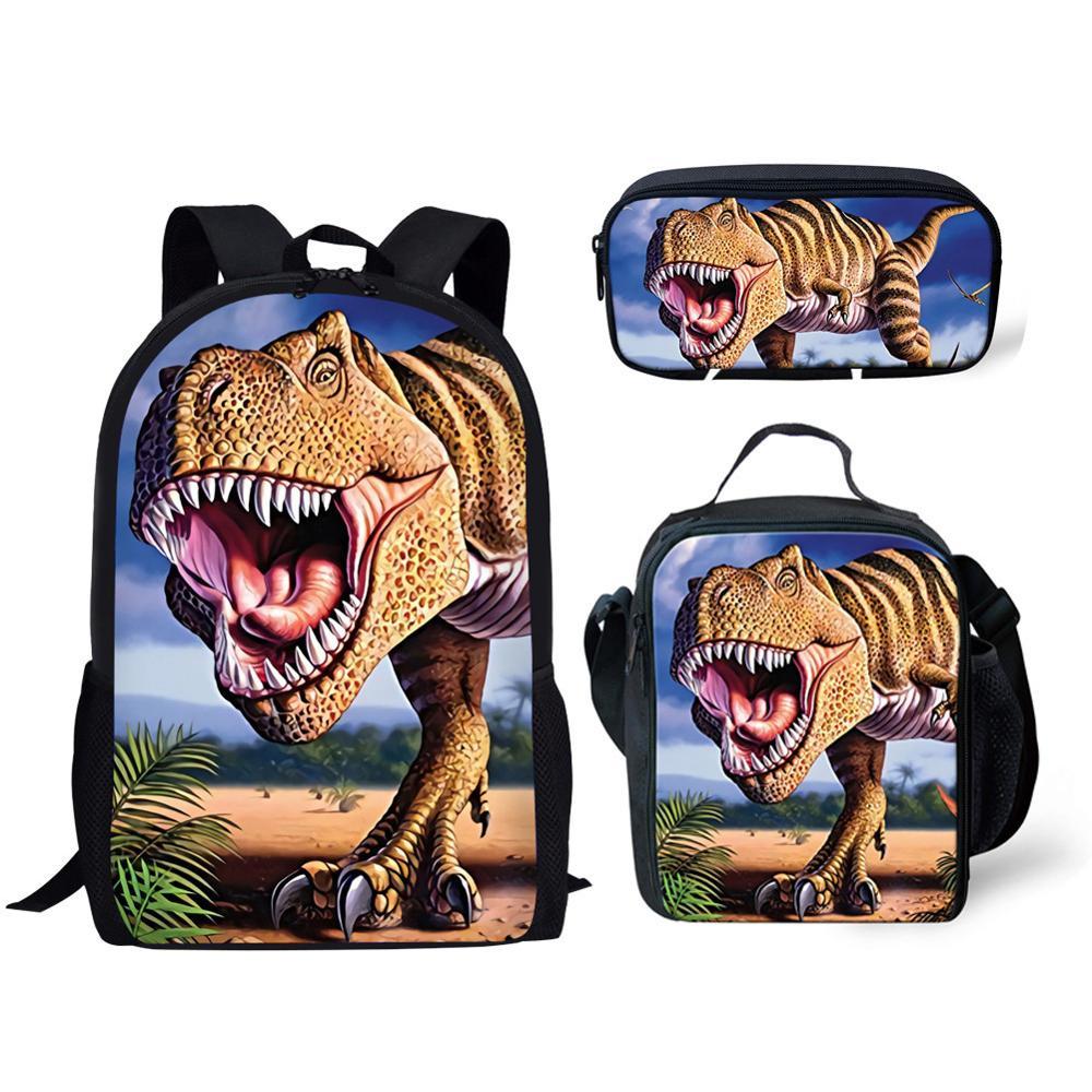 Boys Dino School Bags Kids Tyrannosaurus Rex Dinosaur Printing School Backpack Children 3pcs/set Schoolbag Bolsa