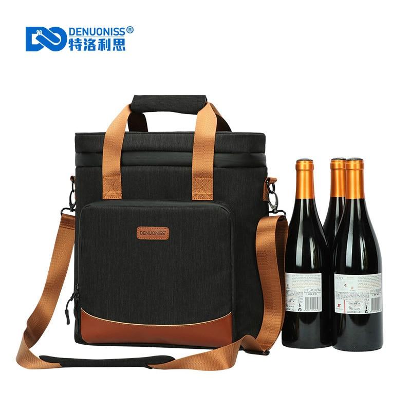 DENUONISS-حقيبة تبريد للنزهات ، حقيبة تبريد للنزهات ، مانعة للتسرب 2020 ، مبرد جلدي عتيق ، حقيبة حرارية محمولة ، 100%