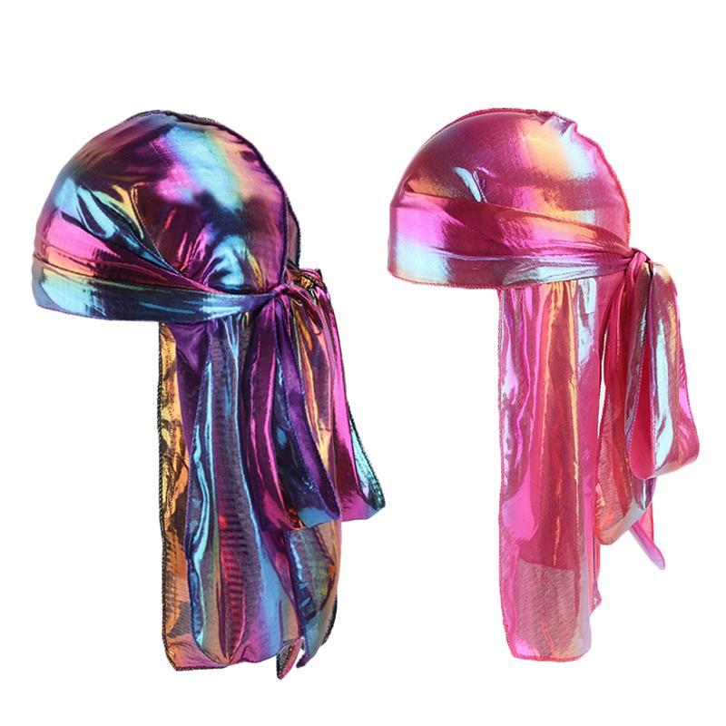 2 uds de seda sintética de moda sombrero pirata de cola larga Durag Headwrap moda punk ancho Straps largo cabezal de cola Wrap turbante Headwear
