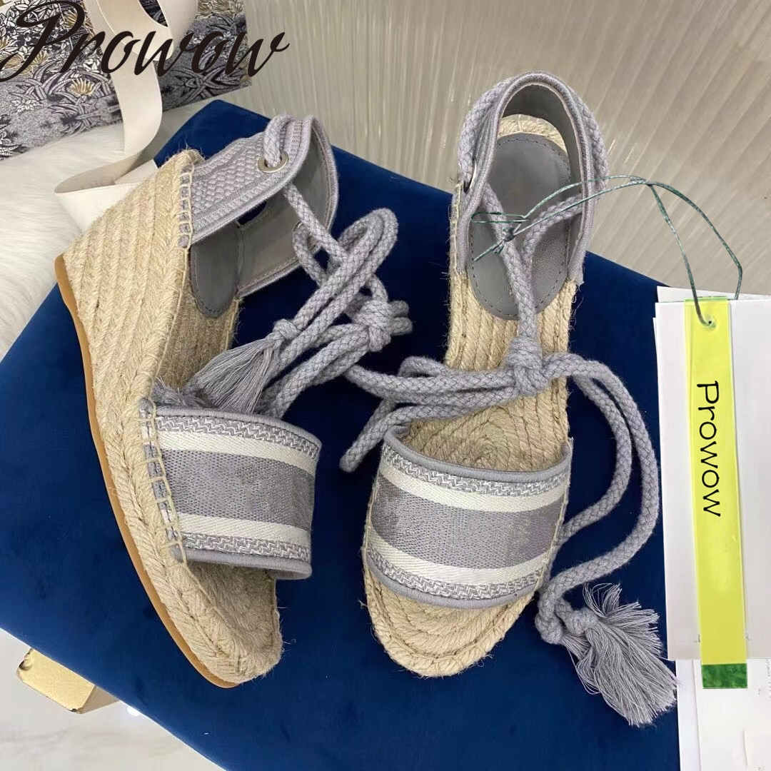 Prowow New Summer Gladiator Lace Up Luxury Women Espadrilles Vacation Flats Sandals Shoes Women Zapatos Mujer