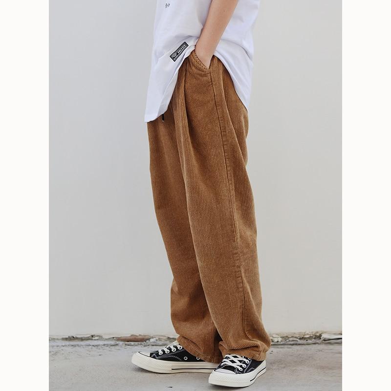 Брюки мужские вельветовые, повседневные свободные штаны, уличные джоггеры, модные, на осень/зиму