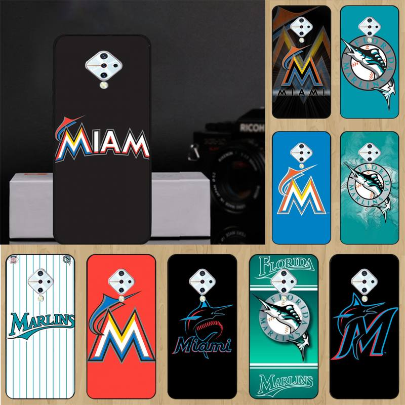Los Miami Marlins negro del teléfono del TPU del caso para Vivo...