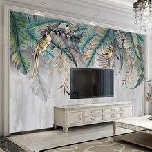 Peinture murale Non tissée en relief   Photo murale, peinte à la main, sur mesure, feuilles, motif floral, oiseau, salon, chambre à coucher