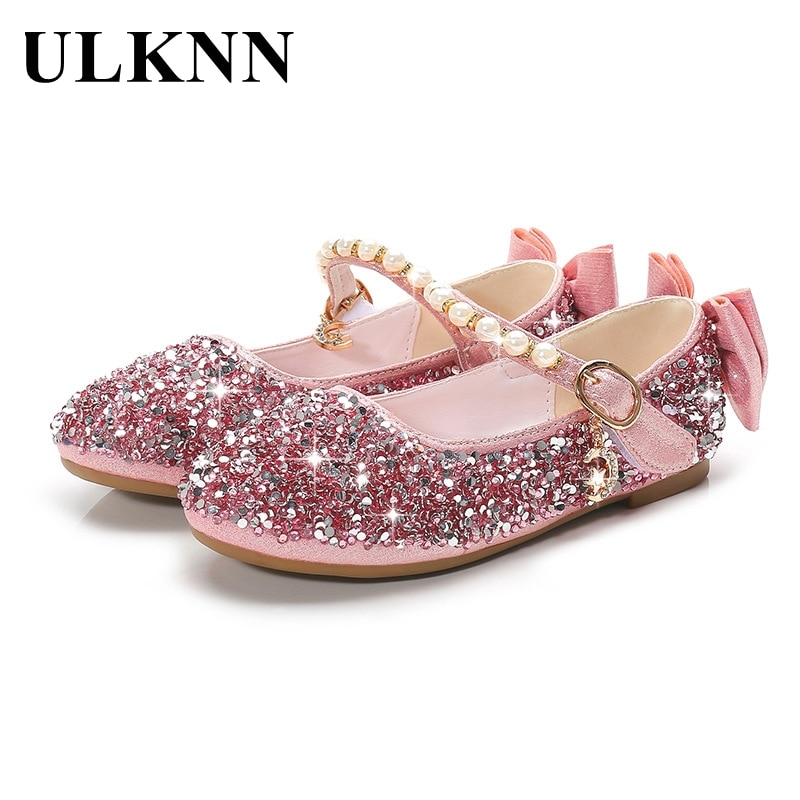 ULKNN Leather Shoes For Girls Princess Flats Children's Shoes Crystal Soft Bottom Non-Slip Single Shoes Size 24-37 Silver Pink